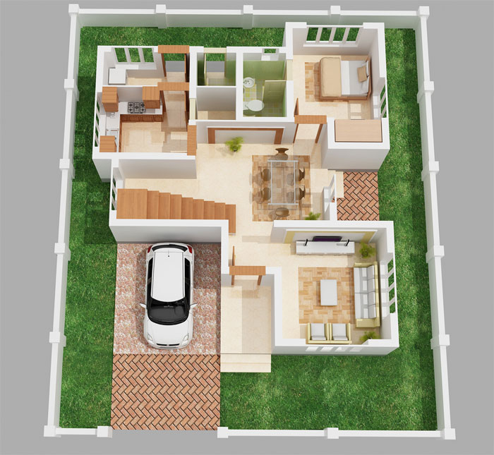 King spaces villas flats apartments for 2bhk home designs